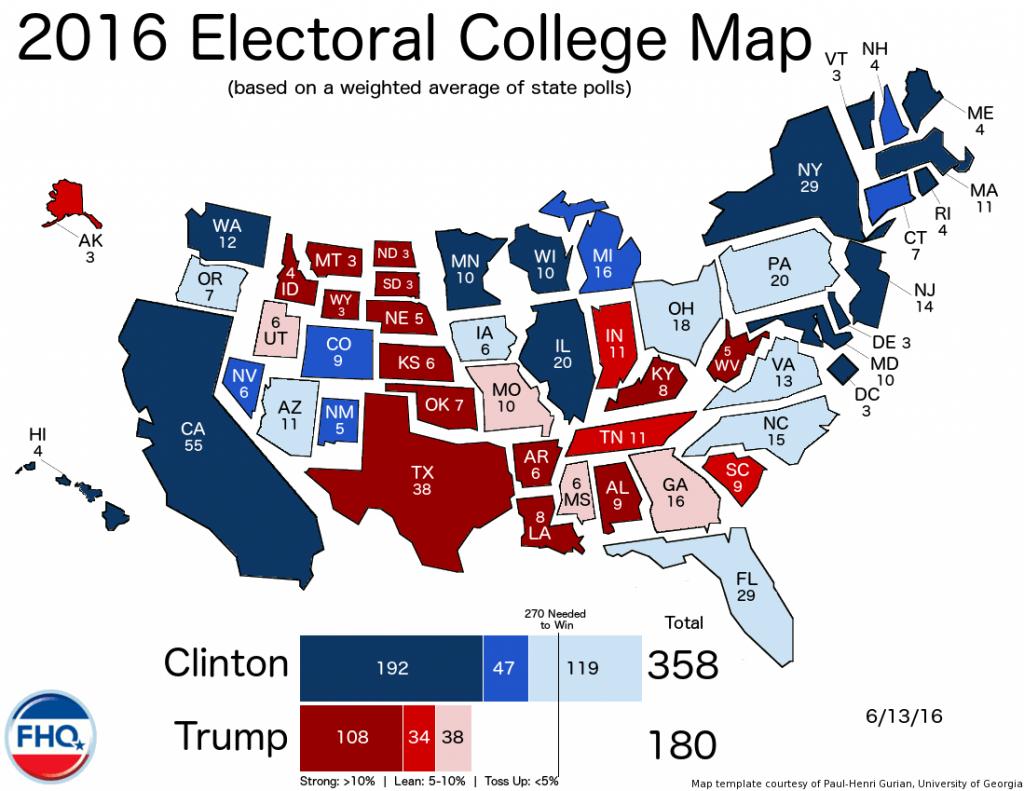 Les états en fonction de leur nombre de représentants et de leur tendance politique.
